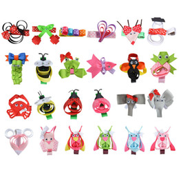"""Wholesale Hairpins For Kids - Wholesale- 24PCS Hair Accessories 2-2.5""""Hair Clip For Girls baby Hairbows with Clips DIY Cute animals Hairpin Ribbon Kids Headwear XCA010"""