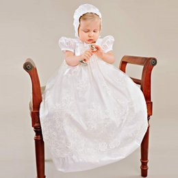 Wholesale Babies Ruffled Dresses - Baby Christening Dress With Hat Empire Waistline Short Sleeves Lace Appliques Ruffled Baby Girl Baptism Birthday Gowns First Communion Dress