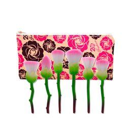 Wholesale Bright Foundation - Rose Pattern Makeup Brushes 6 pcs 1 Set 4 Colors Foundation Brush Makeup Multipurpose Set Colorful Bright Fast Shipping