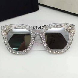 Wholesale Big Round Frame Sunglasses - 0116s New Brand Sunglasses Female Super Star Sunglasses Round Lenses Diamond Sun Glasses Mirror Big Square Sunglasses 2017 with Case