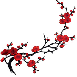 Wholesale Pictures Machine - Plum Blossom Flower Fabric Applique Wintersweet Clothing Embroidery Patch Fabric Sticker Iron On Patch On Sew Craft Sewing Repair Embroider