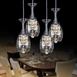 Wholesale Hanging Crystal Pendant - Modern Crystal Wine Glasses Bar Chandelier Ceiling Light Pendant Lamp LED Lighting Hanging Lamp LED Dining Room Living Room Lighting Fixture