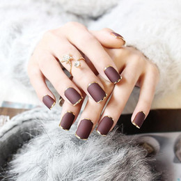 Wholesale Brown Acrylic Nails - Wholesale- 24pcs Hot Sale Golden Full Frame Brown Nail Tips Full Frosted Designed Fake Nails Short Square 8 Colors Choose