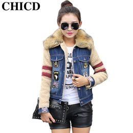Wholesale Women Fur Collar Thicken Fleece - Wholesale- CHICD Winter New Denim Jacket for Women Thicken Fleece Slim Denim Jacket with Fur Collar Long Sleeve Jeans Jacket Women XC252