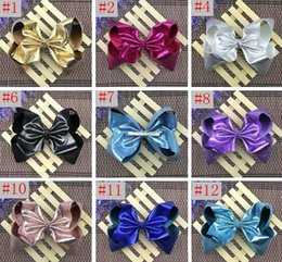 Wholesale Party Ornaments - Jojo 8inch width 7.5CM Girls leather bowknot clip Princess Christmas party performance headdress Girl hair ornaments hot selling in stock