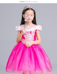 Wholesale Princess Style Prom Dresses Pink - Sleeping Beauty Aurora Princess Dress Kids Halloween Costume Fancy Party Christmas Prom performance Dresses for Girls free shipping