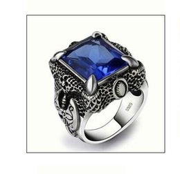 Wholesale Sterling Dragon Ring - 925 Sterling Thai Silver Blue Zircon Ring Man Dragon Claw Retro Wedding Or Engagement Ring Not Plated Delicate Royal Court Style Surface 2.3