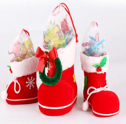 Wholesale Medium Size Gift Boxes - 3 Size Christmas Supplies Flocking Boots Christmas Creative Gift Socks Candy Box For Christmas Decoration FP03