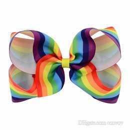 """Wholesale Girls Hair Bubbles - 6"""" Girls Rainbow Bow Clips Baby Bubble Flower Ribbon Bowknot Hairpin Kids Large Barrette Hair Boutique Bows Children Hair Accessories KFJ42"""