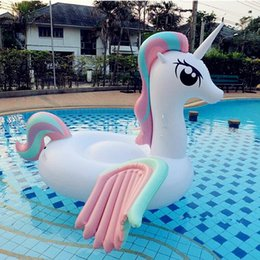 Wholesale Inflatable Ride Animals - Giant Inflatable Pool Toy Unicorn Floats Cartoon Animal Riding On Dolly Pony Wings Toy Summer Outdoor Pool Party Lounge For Adults And Kids