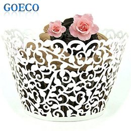 Wholesale Wholesale White Cupcake Wrappers - 120pcs White Little Vine Filigree Laser Cut Lace Cupcake Wrapper Wraps Liner Wedding Birthday Party Cake Decoration Cups 800689 for Christma