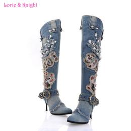 Wholesale Denim Stilettos - Wholesale-Fashion Ladies Winter Denim Knee Boots Blue Jean Rivet Punk Stiletto Heel Pointed Toe Boots