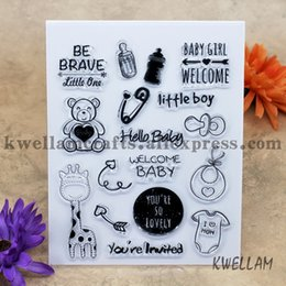 Wholesale Baby Welcome - Wholesale- BABY GIRL WELCOME Hello Baby Scrapbook DIY photo cards account rubber stamp clear stamp transparent stamp 14x18cm KW6122525