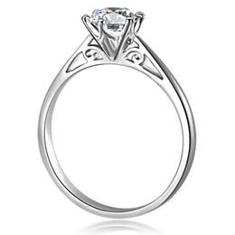 Wholesale 18k Rgp - Real 100% White Gold Ring 18K RGP Stamp Rings Set 0.5 Ct CZ Diamond Wedding Rings For Women RING