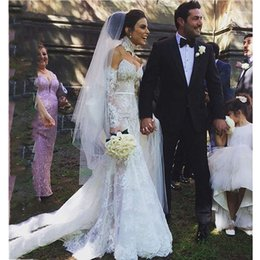 Wholesale Sexy Middle East Black Applique - Romantic Long Wedding Dresses High Neck Long Sleeve Garden Bridal Gowns Middle East Long Boho Bridal Dress Robe De Mariage 2017