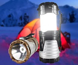 Wholesale Cheap Outdoor Tents - Cheap Ultra Bright Portable Solar Camping Lanterns Emergency Flashlight LED Outdoor Lighting Folding Camp Tent Rechargeable Lamp
