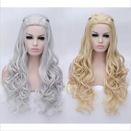 Wholesale Cosplay Wigs Free Shipping - New!! Game of Thrones Daenerys Targaryen Cosplay Wig Braided Long Curly Anime Wigs Daenerys Hair Women Costume Wig Free Shipping