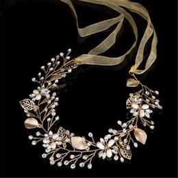 Rebe stirnband online-Mode Gold Perle und Kristall Braut Haar Rebe Band Stirnband Haarschmuck Haarschmuck für Frauen