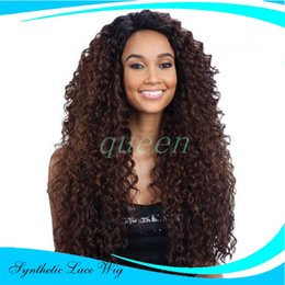 Wholesale Kanekalon Curly - Cheap Brown Blonde Ombre Curly Kanekalon Faber Hair Synthetic Lace Front Wig Heat Resistant For Black Women