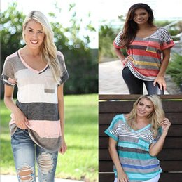 Wholesale Long Sleeve Stripe Pocket - Foreign trade ladies T-shirt in Europe and the us version to Large size comfortable multicolor splicing pocket stripe with short sleeves