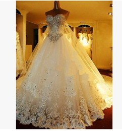 Wholesale Cheap Embroidered Wedding Dresses - Fast ship Cheap Real Image A Line Wedding Dresses Sweetheart Lace Luxury crystal Beaded Princess Vintage Garden Country Wedding Bridal Gowns