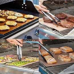 Wholesale Electric Frying Fries - 2017 Reusable No Stick BBQ Copper Grill Mat Baking Easy Clean Grilling Fried Sheet Portable Outdoor Picnic Cooking Barbecue Tool