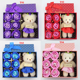 Wholesale Display Dolls - 6Pcs Box Romantic Rose Soap Flower With Little Cute Bear Doll Great For Valentine Day Giftsfor Wedding Gift or birthday Gifts