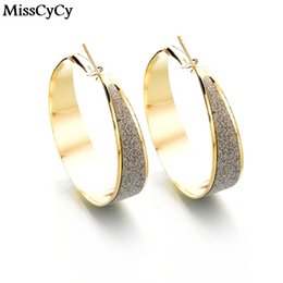 Wholesale Hot News Women - Wholesale- MissCyCy News Hot Sale Fashion Personality Gold Color Hoop Earrings Jewelry Geometry Circle Statement Earring For Women
