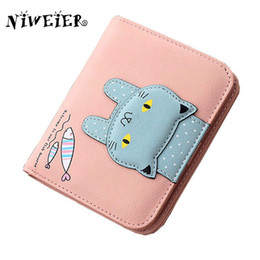 Wholesale Cards Two Folds - Wholesale- top pu two fold short 4colors cute cat teenage girls wallet kid's purse button clutch female purses card holder money bags