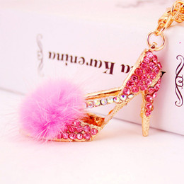Wholesale Wholesale Shoes Keyring - Creative Feather High-heel Shoe Keyring Rhinestone Crystal Charm Pendant Purse Bag Car Key Chain Friend Daughter Gift