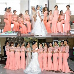 Wholesale Inexpensive White Long Dresses - 2017 Vintage Mermaid Coral Bridesmaid Dresses Lace Illusion Sheer Jewel Sheath Stretchy Floor Length Formal Party Inexpensive Dresses