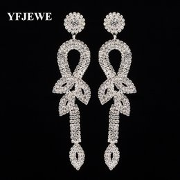 Wholesale Gold Earrings Designs Price - YFJEWE New brand design Statement Fashion Long Drop Earrings for Women Bridal Wedding Crystal Factory Price Earrings Femme E418