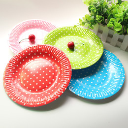 Wholesale Bbq Party Supplies - Wholesale-10pcs set 7'' Polka Dot Paper Plates Disposable Plate for Birthday Party BBQ Wedding Party Dishes Tableware Party Supplies