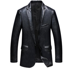 Wholesale Camel Leather Coat - Blazer Leather Jackets for Men PU Blazer Slim Fit Blue Black Camel Slim Pu Leather Suit Jackets Men's Waterproof Blazer Coats