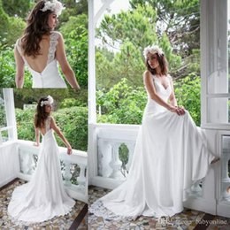 Wholesale Satin Lace Robe Long - 2017 Cheap Summer Wedding Dresses A Line Sexy White Ivory Backless Robe de mariee Long Spaghetti Straps Plus Size Bridal Gowns Bohemain