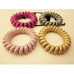 Wholesale Rope Ring Gold - Gold powder bold line ring hair rope blingbling telephone line to FS00119