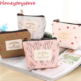 Wholesale Cheapest Ladies Casual Shorts - Ladies Cheapest Canvas Cute Flowers Small Change Coin Purse Little Key Car Pouch Money Bag,Girl's Mini Short Coin Wallet