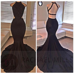 Wholesale Actual Prom Dress - 2017 Black Mermaid Prom Dresses Halter Backless Trumpet Sexy Long Evening Party Gowns Open Back Actual Image