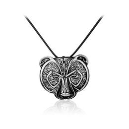 Wholesale Head Pendants - Norse Viking Bear Amulet Necklace Ancient Silver Viking Bear Head Amulet Pendant Necklace Talisman Jewelry for Women 162237