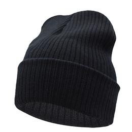 Wholesale Wholesale Skull Flats - Beanies Winter Hat For Men Knitted Hat Women Winter Hats For Women Men Knit Caps Blank Casual Wool Warm Flat Bonnet Beanie