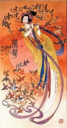 Wholesale Oil Painting Goddess - Dunhuang Kwan-yin goddess Playing flut,Large 100% Handcrafts Art Oil painting On High Quality Canvas,Multi sizes Available DH051