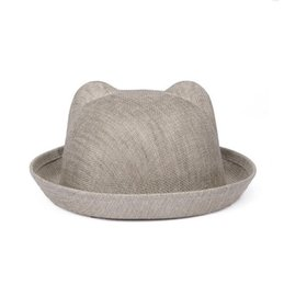Wholesale Cat Ear Ladies Hat - High quality Spring and summer linen web hat ladies flanging hat tide female cat ear bowl cap WMB004
