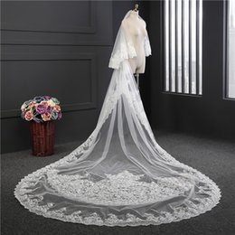 Wholesale Bridal Mantilla Meters - Luxury 2017 Cheap Mantilla Veil Lace Appliques Wedding Veil With Comb 3 Meters Long Cathedral Bridal Veil In Stock