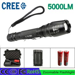 Wholesale Led Flashlights High Lumen - CREE led flashlight antorcha 5000 lumen cree xm-l t6 zoomable led de la antorcha para 2x18650 baterías de aluminio led linternas linternas