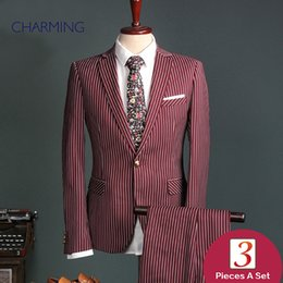 Wholesale High End Tuxedos - Mens suits high end Red Mens striped suit Mens 2 piece suit Suit and trousers High quality fabrics Mens suit fashion Formal suit wedding
