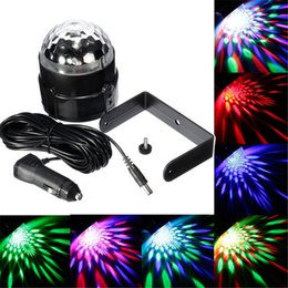 Wholesale 3w Led Stage Lights - 3W Colorful RGB Sound-activated LED Magic Ball Stage Light for Disco Car Decoration Light for inner car bus 12V-24V LEG_90J