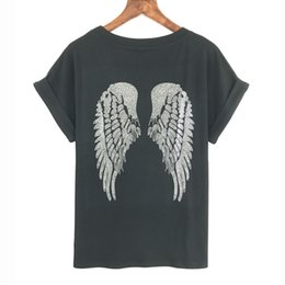 Wholesale Bat Wings Women Tops - Wholesale- 2017 Punk Rock T shirt Women Wing Sequins Sequined T-shirt Women Top Tee Shirt Femme Tops Tees Woman Free Shipping Bat Sleeve