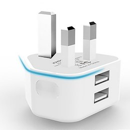 Wholesale Iphone Usb Charger Pin - JOYROOM Chargers Plugs UK Plug 3 Pin Mains Charger Adapter Dual USB Wall Charger For Iphone Samsung Tablet Pc