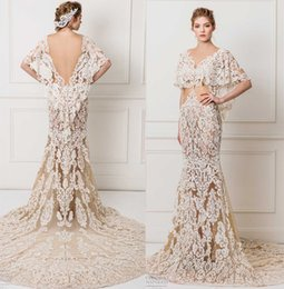 Wholesale Wedding Gown Flutter Sleeves - flutter sleeves champagne lace wedding dresses 2017 maison yeya bridal gown v neck open v back chapel train sheath wedding gowns