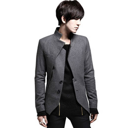 Wholesale Mens Gray Blazers - Wholesale- 2017 New Arrival Blazer Men Black Gray Slim Fit Casual Asymmetrical Male Suit Coat Mens Blazer Jacket Spring Autumn# A42227
